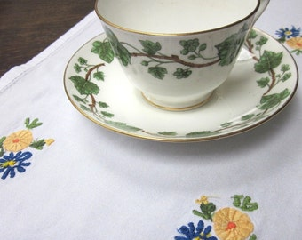 Blue Yellow Flowered Small Cotton Tray Cloth