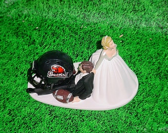 Oregon State Beavers Football Groom Cake Fun but Cute Wedding Topper- Funny Groom's Caketopper Mr Loves Mrs College Sports University Fans-1