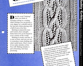 Knitty Gritty 4-H Knitting Instructions Learn How to Do Make Cables Duplicate Stitch Bell Neckwarmer  Project Leaflet