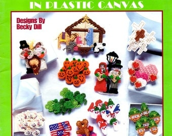 Holiday Magnets Nativity Pilgrims Hearts Leprechauns Flags Cornucopia Plastic Canvas Needlepoint Embroidery Craft Pattern Leaflet 1717
