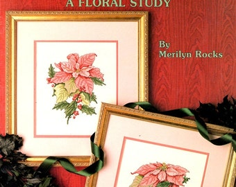 Poinsettias Red Christmas Flowers Veined Leaves Petals Red Berries Counted Cross Stitch Embroidery Craft Pattern Leaflet 900 Leisure Arts