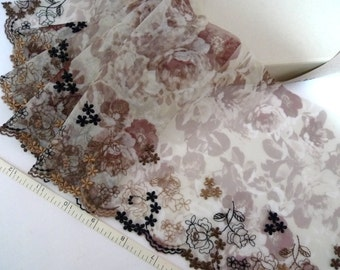 Embroidered lace, Tulle lace, Lace trim, Floral trim, Brown trim, 2 yards PT059