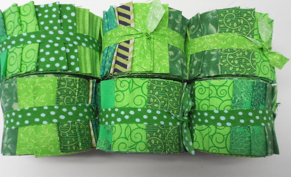 Lime Green Jelly Roll Fabric Strips Quilt Strips Jelly Roll
