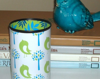 Desk Accessories Lime Green Turquoise Birdies Pencil Holder Pencil Cup Office Desk Organizer Makeup Brush Holder - 472