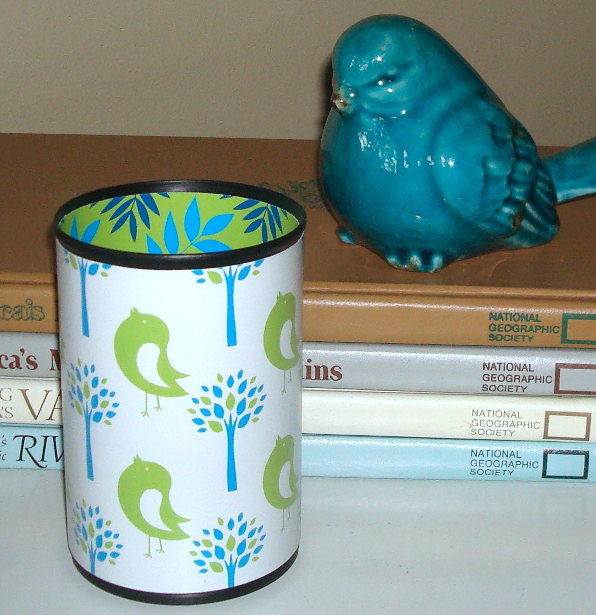 Desk Accessories Lime Green Turquoise Birdies By Makingtimetc