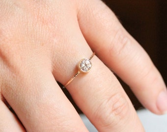 Delicate Swarovski Cubic Zirconia Ring in Solid 14k Rose or White or Yellow Gold - 5mm Brilliant Cubic Zircoia Stacking Ring - Dainty Ring