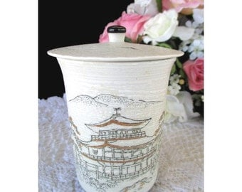 JAPANESE COVERED TEACUP With Pagoda And Birds Asian Decor