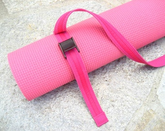 Strap a Mat  YOGA MAT SLING Tote & Yoga Strap in Hot Pink Webbing/Hot Pink ribbon trim