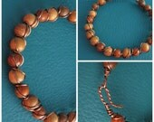 Wood Bead Bracelet With Double Wire Wrapping and Handmade Closure