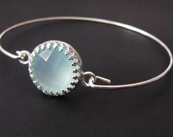 Chalcedony Bangle Bracelet, Sterling Silver, Chalcedony Bracelet, Crown Bracelet, Jewelry, Gift