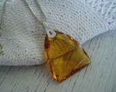 SALE Vintage Art Deco Faceted Topaz Amber Glass Prism Pendant on 16 Inch Sterling Silver Chain Necklace