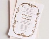 Letterpress Wedding Invitation, Formal Wedding Invitation, Gatsby Wedding Invitation, Bronze Wedding Invitation, Copper Wedding Invitation