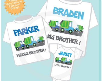 Set of Three, Personalized Sibling Garbage Truck Tee Shirts or Onesies. Big Brother, Middle Brother and Little Brother. (11272013d)