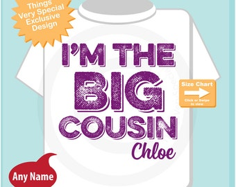 Girls I am the Big Cousin TShirt or Onesie Personalized, Infant, Kids, Toddler or Youth Clothing sizes Pregnancy Announcement (07102014g)