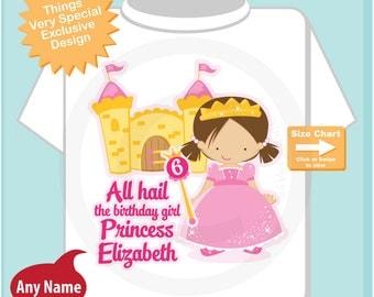 6th Birthday Shirt, Brown Haired Princess Sixth Birthday Shirt, Personalized Cute Princess Birthday Girl Tee Shirt (08252014a)