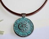 Green Patina Zodiac Pendant Necklace, Zodiac Pendant on Leather Cord, Mykonos Greek Casting, Sun and Moon Pendant, Unisex, Signs of Zodiac