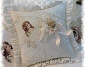 Frances Brundage Vintage Image Girl Lace and old Button Pillow