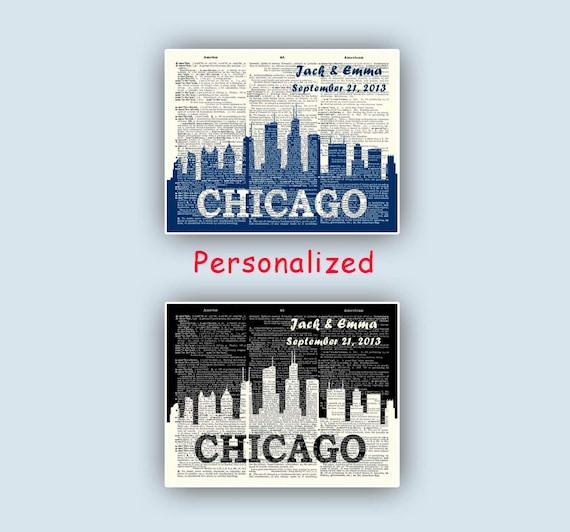City skyline, Chicago skyline, Chicago print, Wedding gift, Chicago ...
