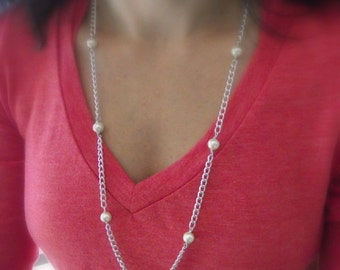 Glass Pearl Bead Necklace and Earring Set, Aluminum Necklace