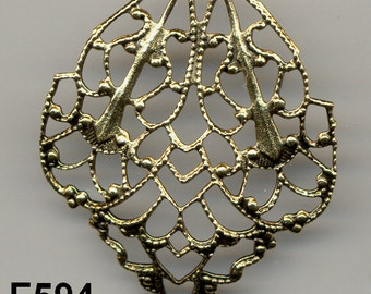 Vintage Flower Filigree Crest Findings American Made  F594.F1411.F1729*