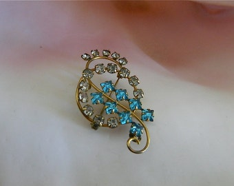 """Vintage DeCurtis Brooch Convertible Pendant, Gold Filled, Aqua and White Rhinestones,""""Deco Delight"""""""