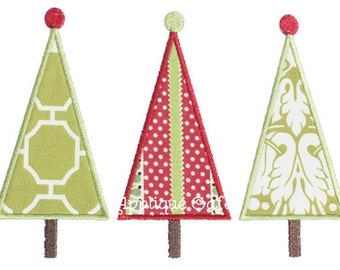 369 Tall Tree Trio Machine Embroidery Applique Design