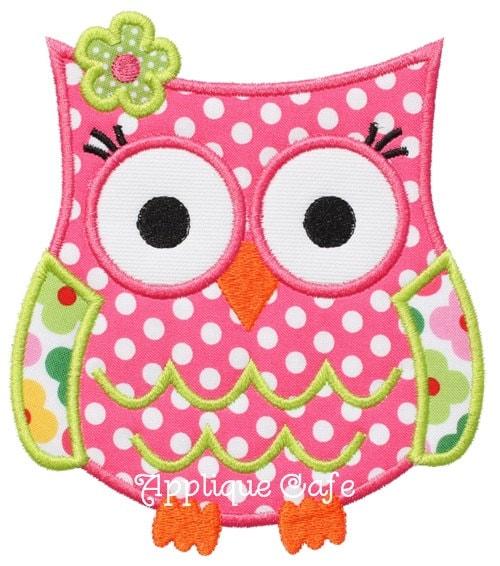 Owl machine embroidery applique design