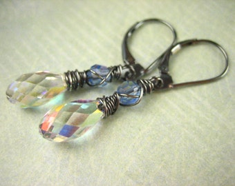 Petite Rainbow Swarovski Teardrop Crystal Faceted Sterling Silver Earrings Violet Blue Gray oxidized wire wrapped dangle minimal