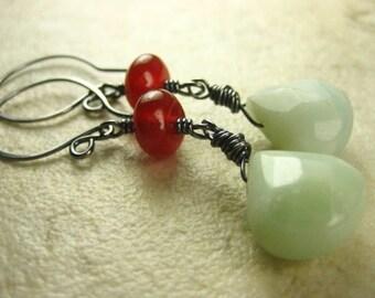 Natural Stone Sterling Silver Earrings aqua Amazonite and red Carnelian  long dangle antique finish earthy earrings rustic earrings