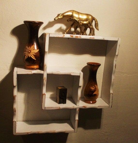 mid century modern shadow box wood wall shelf by. Black Bedroom Furniture Sets. Home Design Ideas