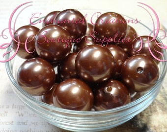 20mm Toffee Brown Acrylic Pearl Beads Qty 10