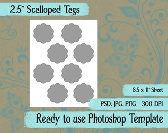 """Scrapbook Digital Collage Photoshop Template, 2 1/2"""" Scalloped Tags"""