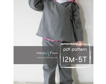 Comfy Yoga Suit pattern and tutorial 12M-5T epattern  pants and top sweater PDF