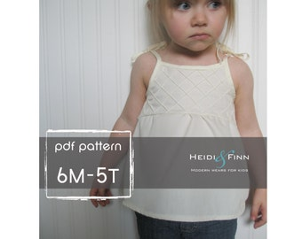 CrissCross Top PDF pattern and tutorial 6M-5T tank shirt pintuck
