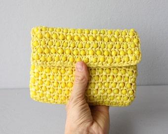 1960s clutch purse / yellow clutch / rattan purse / 60s purse