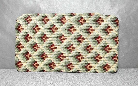 Quilted Zipper Pouch in Art Deco Green Brown Autumn Geomtric Pattern Clutch Woodland Hippie Friend Gift