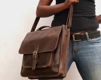 Leather bag Messenger bag computer bag Brown Leather school bag  shoulder bag laptop bag Leather bag