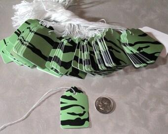 Lime Green Zebra 100 String Tags