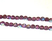 1 Strand of 70 Pressed Amethyst Glass Beads