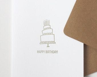 birthday cake | letterpress greeting card