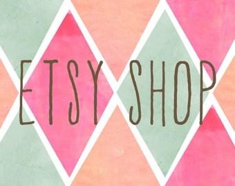 Etsy Shop Banner - Etsy Banner - Watercolor Chevron Banner Premade Etsy Shop Set - Premade Design Package - Watercolor Soft Colors Design