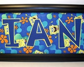 SpongeBob Wall Art Name Frame - Personalized - 8x20, 11x14 or 10x20 Frame Included - Two Designs to Choose From