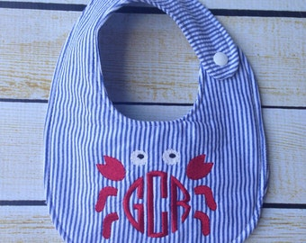 Seersucker Crab Bib, embroidered bib, monogrammed bib, shower gift