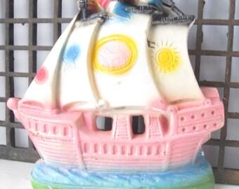 Kitschy Chalkware Pirate Ship, 1950's