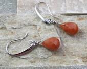 Carnelian stone earrings, briolette bead, brown stone jewelry, dangle earring