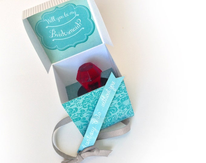 Will You Be My Bridesmaid - Ring Pop Box - Maid of Honor, Matron of Honor, Turquoise - Instant Download DIY Printable PDF Kit