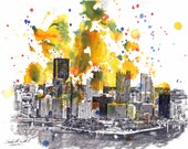 Pittsburgh Skyline Landscape Art Print From Original Watercolor Painting 8 x 10 in Pittsburgh Abstract  Art Print