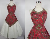 1950's Vintage Red and White Bandana Halter Dress by Loungees