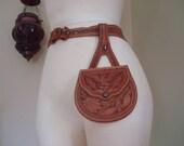 c. 1900 souvenir hand tooled leather chatelaine purse