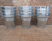 30 Mini Silver Tin Metal Pails, Favor Size, DIY Weddings, Rustic Decor, Galvanized Buckets